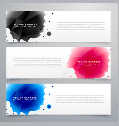 Three ink drop banners card vector