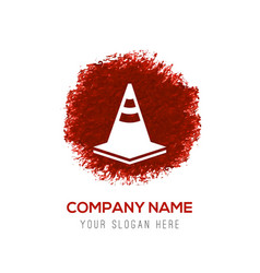 traffic cone icon - red watercolor circle splash vector image