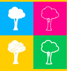 tree sign four styles of icon on four color vector image vector image