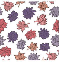waterlilies or lotus flowers seamless pattern vector image