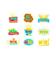 Win congratulations stickers assortment comic vector