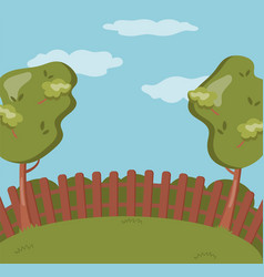 wooden fence on the backyard green garden with vector image