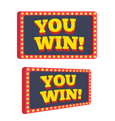 You win text announce on retro or vintage light vector