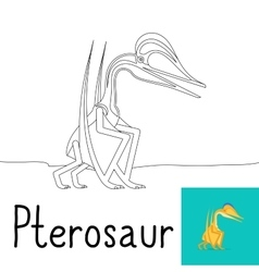 Coloring page for kids with Pterosaur vector image