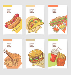 fresh fast food hand drawn cards brochure menu vector image vector image