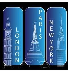London new york and paris vector