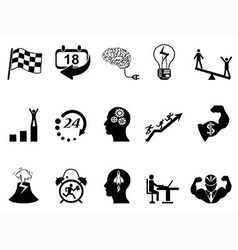 Productive at work icons vector image vector image