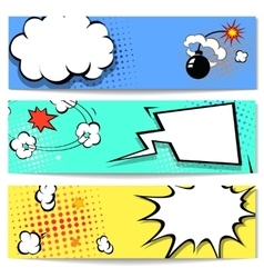 Comic speech bubble web header set with vector image vector image