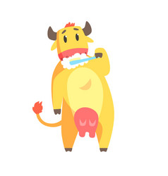 cute cartoon cow brushing teeth with tooth brush vector image vector image