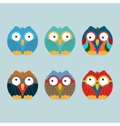 Funny frozen owls set vector image