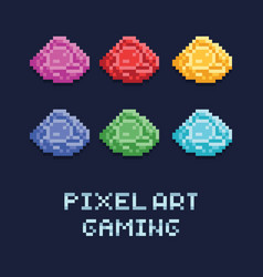 pixel art style set of ore vector image vector image