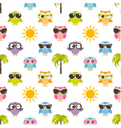 seamless pattern with owls sun and palm tree vector image vector image