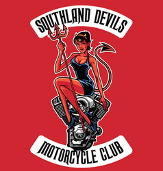 sexy devil with motorcycle engine vector image vector image