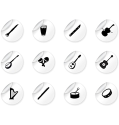 Stickers with musical instrument icons vector image vector image