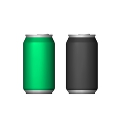 Two Aluminum Can Green Black Blank Metal Aluminum vector image