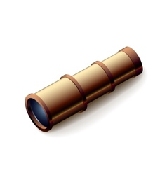 Vintage spyglass closeup isolated on white vector image