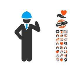 Engineer icon with lovely bonus vector
