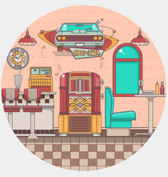 interior of an old american diner restaurant vector image