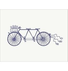 Wedding Vintage tandem bicycle icon vector image