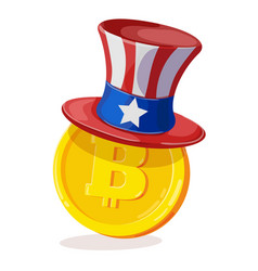 bitcoin in american hat vector image vector image