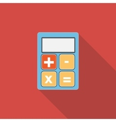 Calculator Flat Icon with Long Shadow vector image vector image