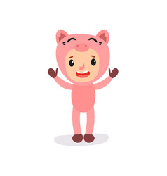 Cute little kid in pink pig costume boy or girl vector