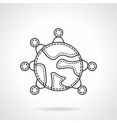 Global ideas connection flat line icon vector image