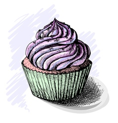 Hand drawn of tasty cupcake sketch vector image vector image
