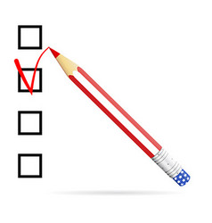 Pencil drawing check mark in check box US vector image vector image