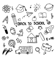 set of hand drawn doodle icons back to school on vector image vector image