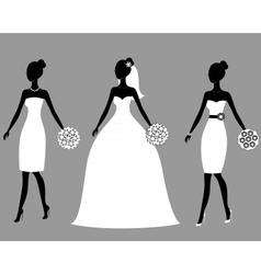 Silhouettes of beautiful young brides vector image vector image