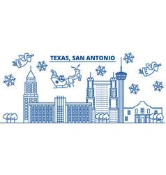 usa california san antonio winter city skyline vector image