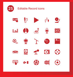 25 record icons vector image