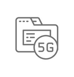 5g internet database line icon isolated on white vector image