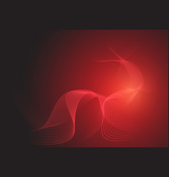 abstract red line wave curve smooth on dark vector image