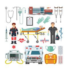 Ambulance doctor character car vector