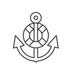 Anchor an swim ring outline icon on white vector