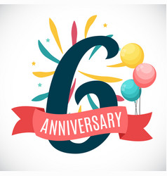 Anniversary 6 years template with ribbon vector