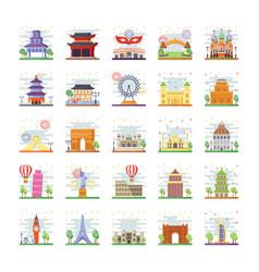 Asian landmarks icons vector