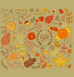 Autumn floral design elements in doodle style vector image