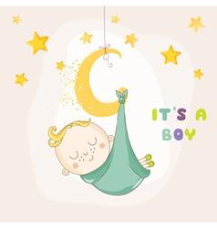 Baby boy sleeping on a moon - shower vector