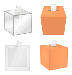 ballot box democracy mockup set realistic style vector image