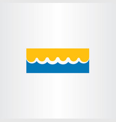Beach icon water wave and sunshine vector