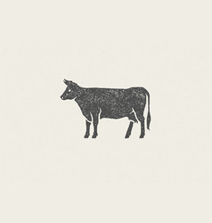 Black cow silhouette for meat industry or farmers vector