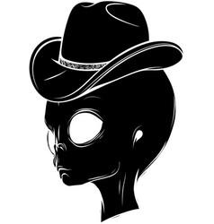 Black silhouette alien head with hat vector