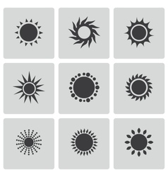 black sun icons set vector image