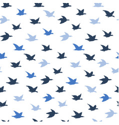 blue crane birds seamless pattern with birds vector image