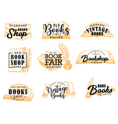 Books and manuscripts icons lettering vector