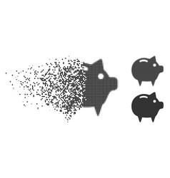 Broken dotted halftone piggy bank icon vector