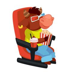 Bull eating popcorn watching movies in cinema vector